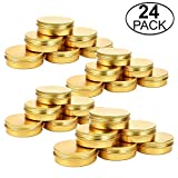 TMO 4 oz Tin Cans Screw Top Containers Aluminum Round Steel Tin Cans Travel Tins Storage Jar Food Tins Containers Metal Tins with Lids,Gold(24 Pack)