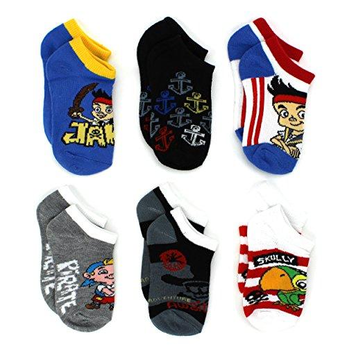 Jake and the Never Land Pirates Boys 6 pk Socks (4-6 (Shoe: 7-10), Jake No Show)]()