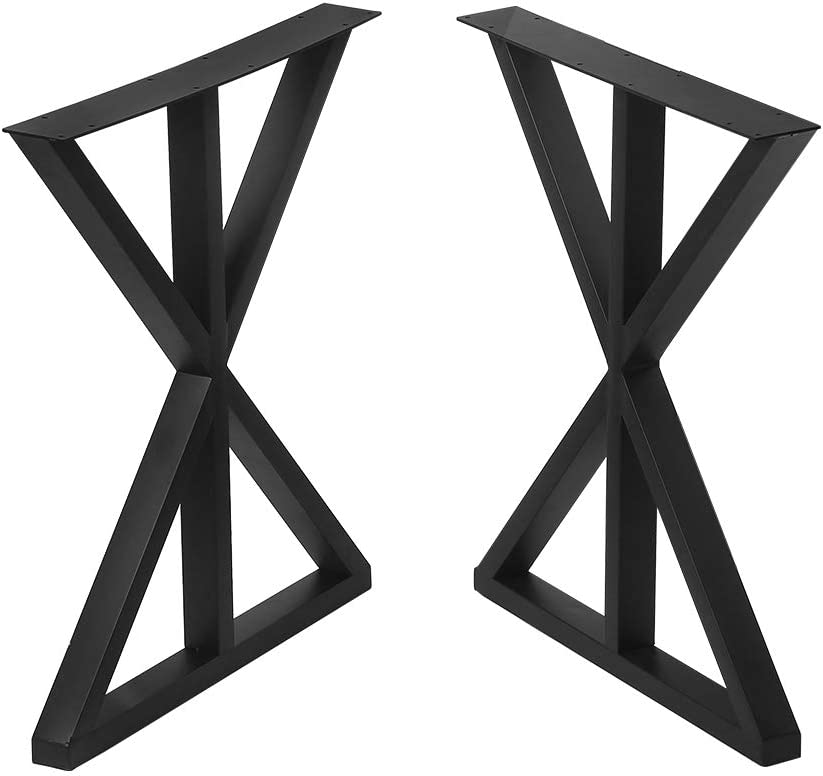 "Metal Table Legs Cast Iron Dining Table Legs,Industrial Desk Legs Black Bench Legs,Rustic Heavy Duty DIY Furniture Legs,Square Tube Coffee Table Legs 2 PCS(28"" Height 18"" Wide)"