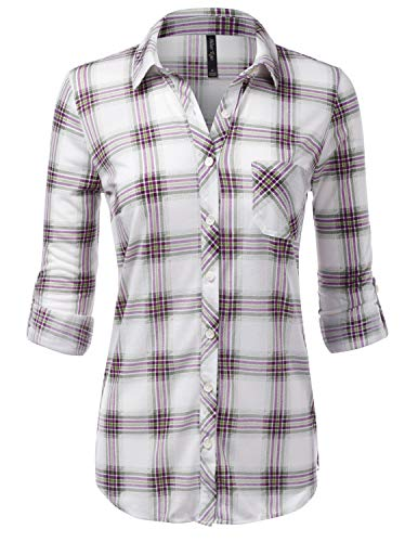 JJ Perfection Womens Long Sleeve Collared Button Down Plaid Flannel Blouse Shirt WHITEOLIVE S
