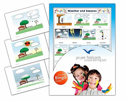 (Yo-Yee Flashcards - Weather and Seasons Flash Cards with Matching Bingo Game Cards in One Set - Vocabulary Picture Cards for Toddlers, Kids, Children and Adults)