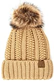ScarvesMe Exclusive CC Knitted Hat with Fuzzy Lining with Pom Pom (Camel)