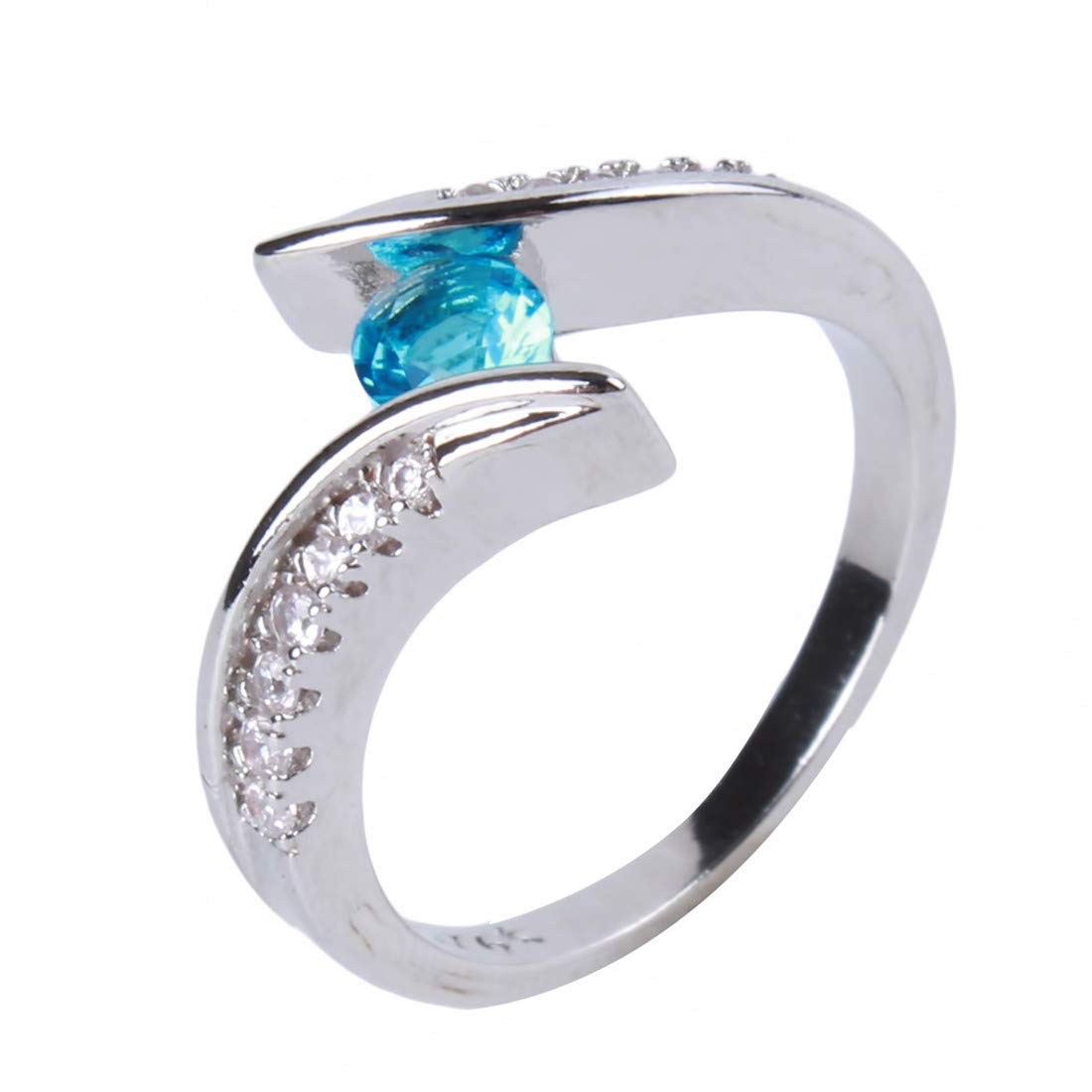 Yingwei VWH Inlay Round Crystal Ring Engagement Band for Women Girls Jewelry Accessories Blue Size 6