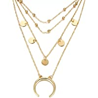 Jewels Galaxy Moon Triple Layered Fashion Necklace for Women/Girls