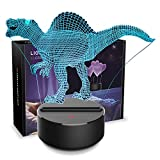 Dinosaur Night Light 3D Kids Bedside Lamp 7 Colors Change Dinosaur Toys Optical Illusion Night Lights Ideas Birthday Gifts for Kids Baby Girls Boys (Spinosaurus 01)