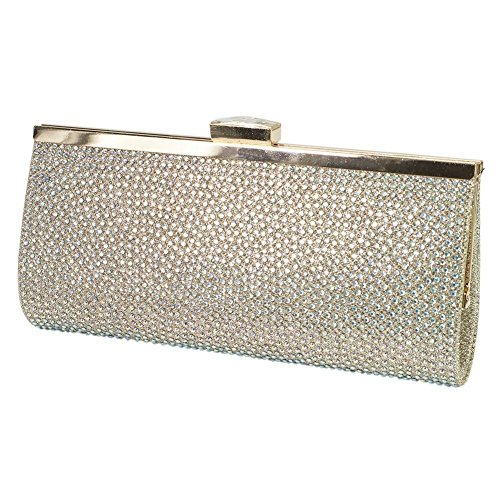 De Blossom Womens Nude Glitter Texture Jeweled Clasp Closure Clutch Purse