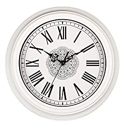 Bien-Zs Silent Non-ticking Round Wall Clocks 12 Inch Decorative Battery Operated Roman Numeral Wall Clock for Home Kitchen Living Room White
