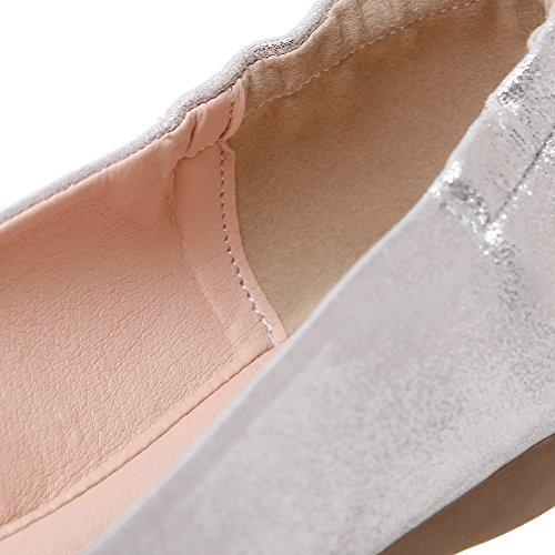 AgooLar Damen Schließen Zehe Ziehen Auf kunstleder Flache Schuhe Silber