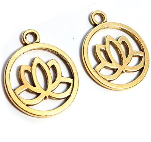 Gold Plated Flower Charm - 24 Gold Lotus Flower Charm Pendants Gold Plated Metal 20mm (CB110)