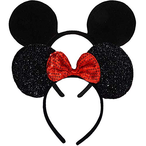 Pack of 2 Mickey Minnie Mouse Ears, Minnie Mouse Red Bow Sparkled Headband for Baby Boys Girls Birthday Party (Red Sparkled Black)