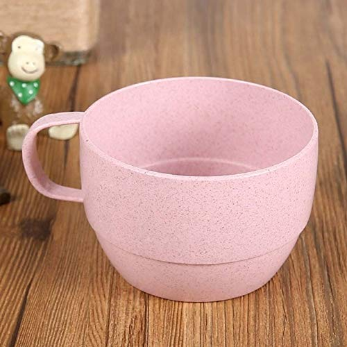 ic Style Plastic Tea Cups Eco-Friendly Wheat Straw Cup, Double Milk, Mouthwash Cup, Office Coffee Cup: Pink Color ()