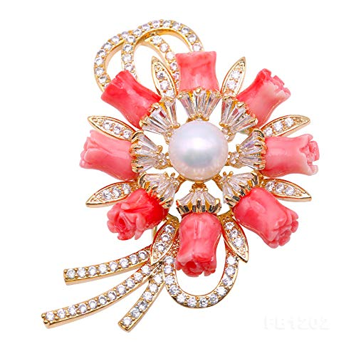 JYX Pearl Coral Brooch 8.5mm White Freshwater Cultured Pearl and Coral Brooch Pin Christmas GIF Brooches