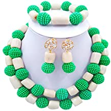 aczuv 2 Row Simulated Pearl and Coral Beads Jewelry Set African Necklace for Nigerian Wedding