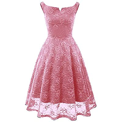 Lace Cocktail Dress,Women Vintage Princess Floral V-Neck Party A Line Swing Dresses by MEEYA