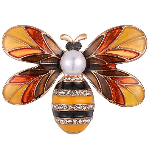 - Stylebar Bee Brooch Bumble Honeybee Broaches for Women Girls Summer Simulated Pearl Insect Orange Enamel Crystal Brooches Pins Rose Gold Tone