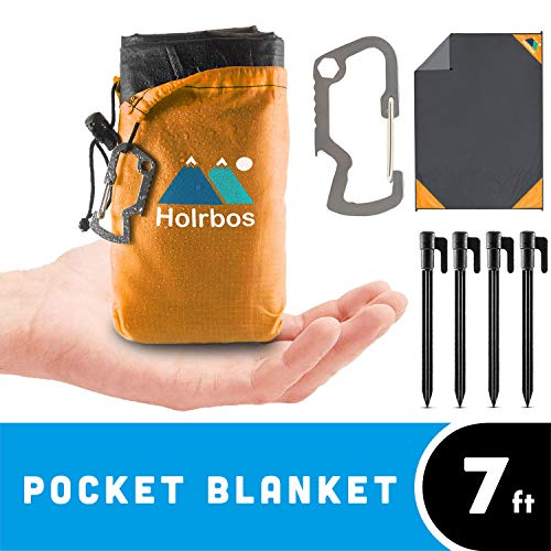 "Holrbos Compact Outdoor Pocket Blanket | Water Resistant + Sand Proof Mat Best for Beach, Picnic, Camping, Hiking | Included 2 in 1 Carabiner Bottle Opener, Ground Stake Kit - Large 82""x56"