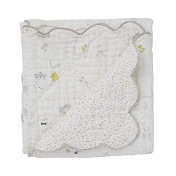 Pehr Magical Forest Quilted 100/% Cotton Baby Blanket 36 x 36 Inch Scallop Detail