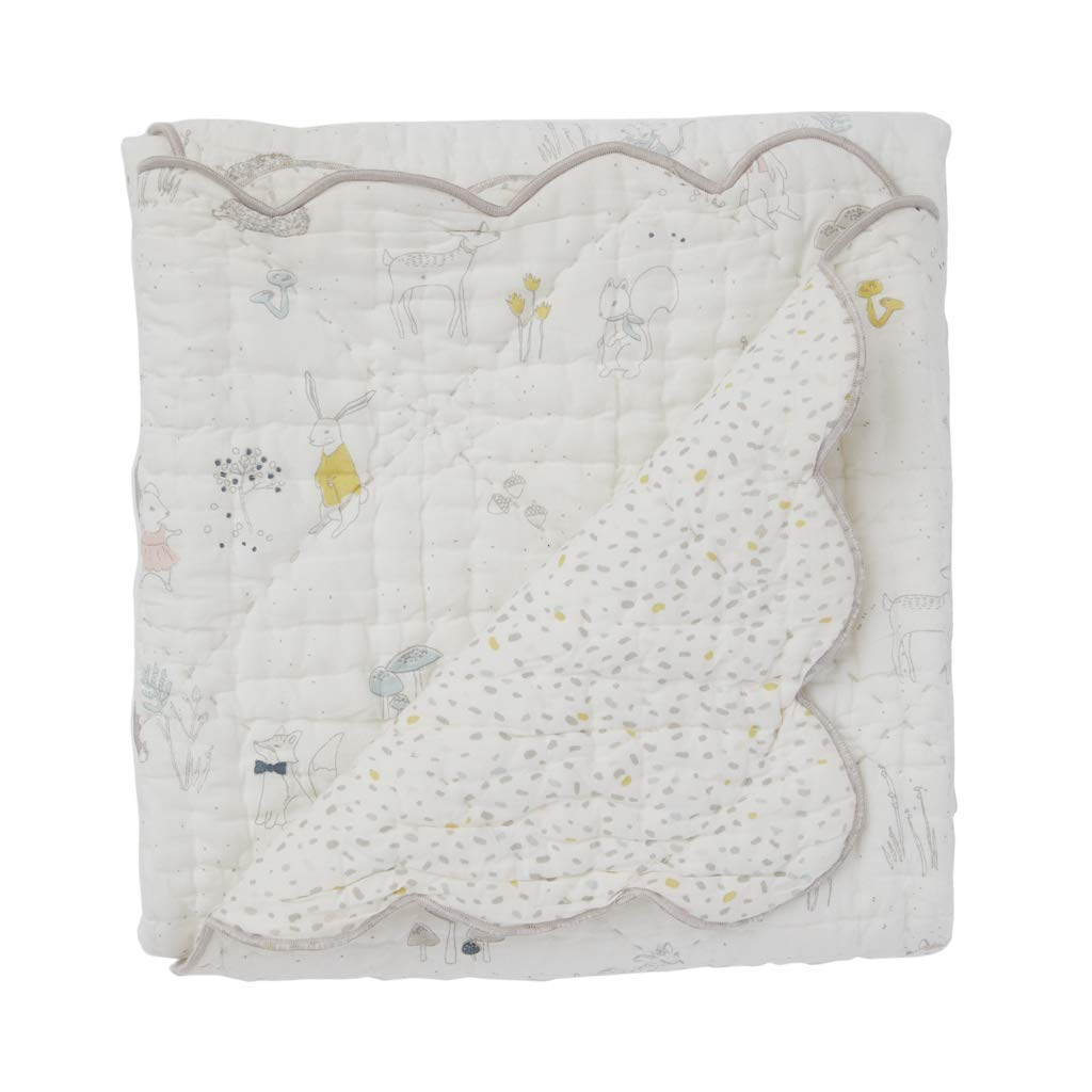 Pehr Magical Forest Quilted 100% Cotton Baby Blanket, Scallop Detail, 36 x 36 Inch