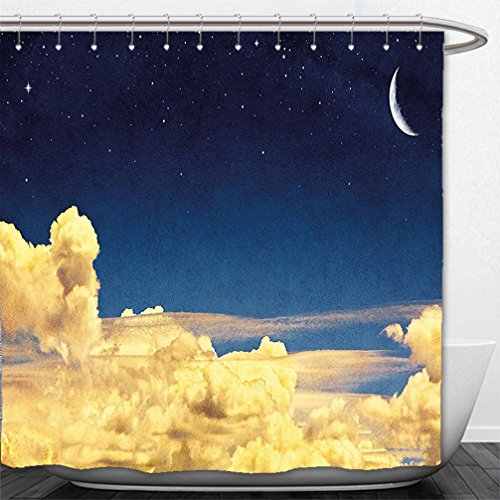 Interestlee Shower Curtain Sky Night Cloudscape with Stars Crescent Moon Dramatic Dawn Saturated Picture Light Yellow Dark - Sky Pictures Macy