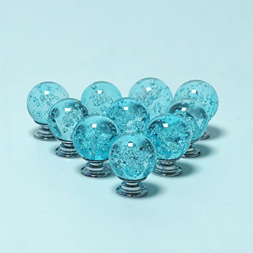 AXAYINC Bubbles Crystal Glass Knob Pull Handle for Furniture Door Drawer Cabinet Dresser Closet Wardrobe Cupboard 30mm (Aqua Blue) (Knobs Pull Round Glass)