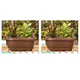 Bloem Deck Rail Planter 24''-Chocolate - 2 Pack