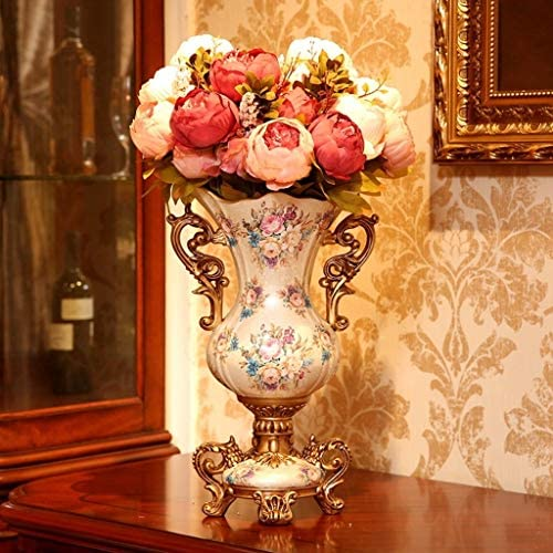 ZR-DECOR European-Style Retro Resin Large Vase for Living Dining Room Table Centerpiece Bedroom Office Hotel Home Decoration Hand-Painted Tall Flower Vases, Beige 42 26cm