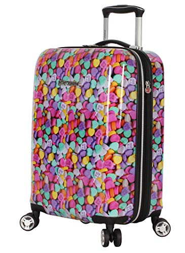 Betsey Johnson Luggage Hardside Carry On 20 Suitcase With Spinner Wheels 20in, Candy Heart