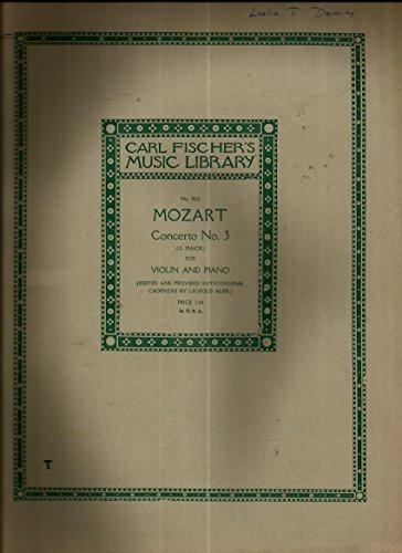 Mozart Concerto No.3 (G Maj) for Violin & Piano, Edited w/Original Cadenzas, Leopold Auer (Violin Leopold Mozart)