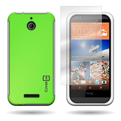 CoverON® for HTC Desire 510 - Hybrid Hard Rubberized Plastic Case - Neon Green + White Cover Included Screen Protector