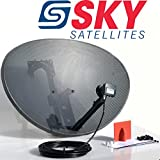 Sky Satellites 80CM Zone 2 Freesat HDR Satellite Dish DIY Self Installation Kit,Latest Dish with Quad LNB,5 Meter RG6 Black coax Cable all necessary Brackets,Bolts and SATELLITE FINDER (5 Meter Single RG6 Kit, Black)