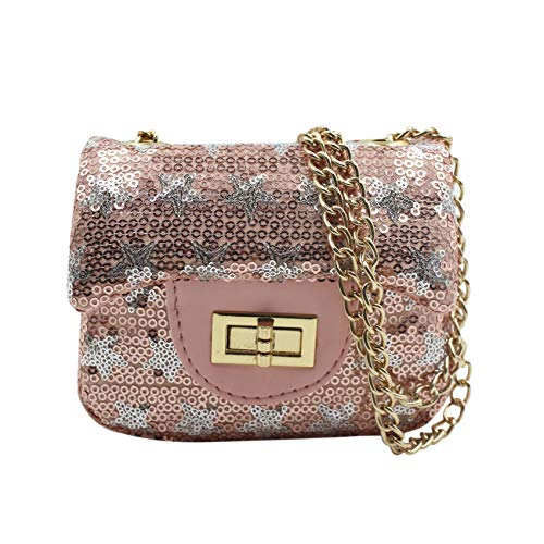 ZGMYC Little Girls Stars Sequins Crossbody Purse Small Shoulder Bag Wallet with Chain ()