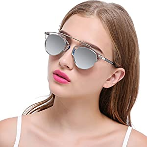 Joopin Fashion Polarized Sunglasses 2016 Alloy Frame Sunglass Women Brand Designer Sun Glasses (Silver Mirror Lens)
