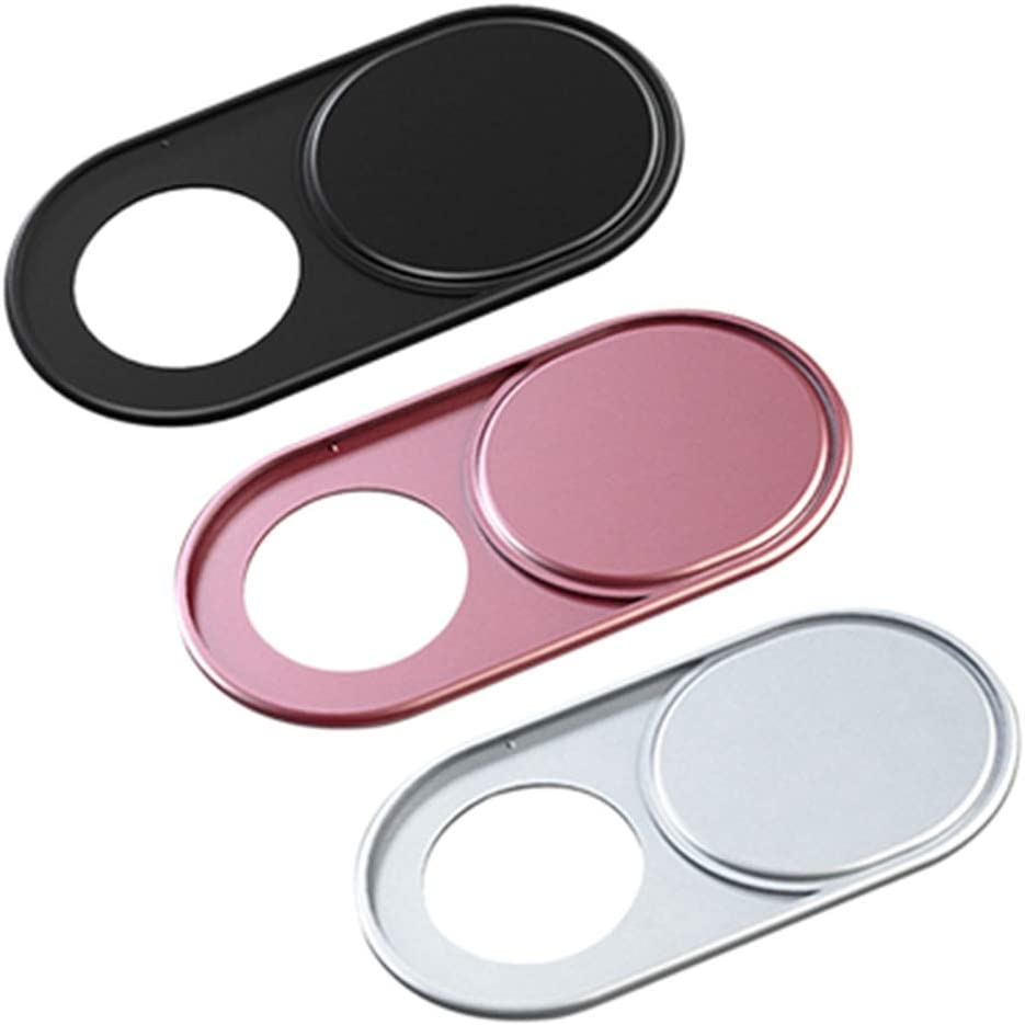 Ultra Thin Slim Mini Shield Camera Sticker Slide Shutter Metal Webcam Cover Privacy Protection(3pcs-Metal Oval,Black&Silver&Rose Gold)