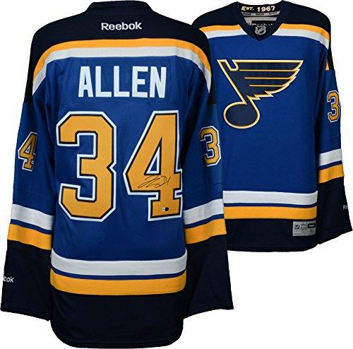 Reebok Autographed Authentic Blue Jersey (Jake Allen St. Louis Blues Autographed Blue Reebok Premier Jersey - Fanatics Authentic Certified - Autographed NHL Jerseys)