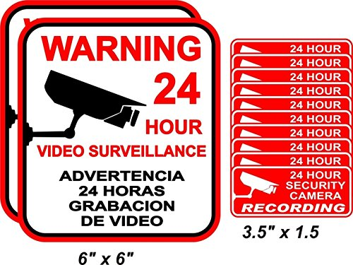 12-Pcs Notable Unique Warning 24 Hour Video Surveillance Stickers Decal Sign 24Hr Business Indoor Reflective Protected Door Home Trespassing House Neighbor Burglar Security 2-Large 10-Small - Alarm Sox