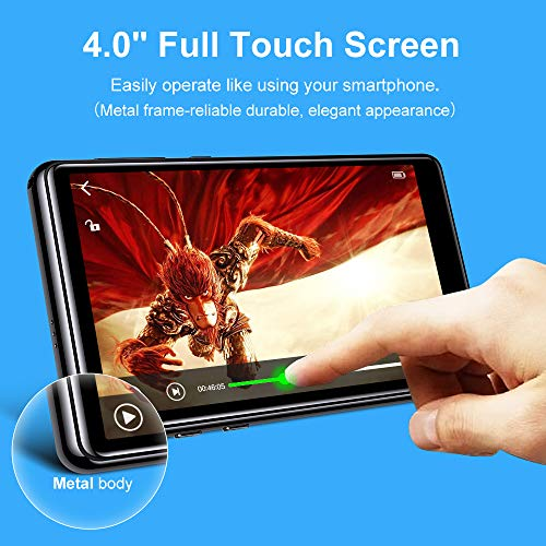 """Mp3 Player with Bluetooth 5.0,Tengsen 16GB 4.0"""" Full Touchscreen HD Video Mp4 Mp3 Music Player with Speaker,Portable HiFi Sound with FM Radio, Voice Recorder, E-Book, Sport Pedometer,Support TF Card"""