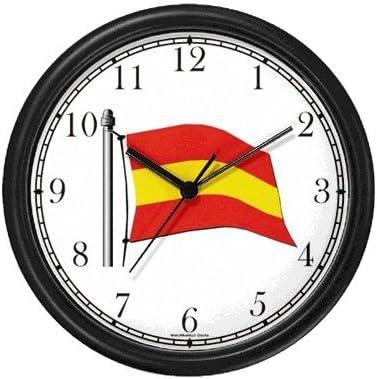 Bandera de España nº 1 – España tema reloj de pared por cazador de relojes WatchBuddy (verde marco): Amazon.es: Hogar