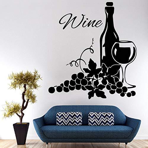 YSQLLA Dos Grupos de Uvas y Botella de Vino Pegatinas de Pared Sala de Estar autoadhesiva Vinilo Creativo Home Decor60X65Cm