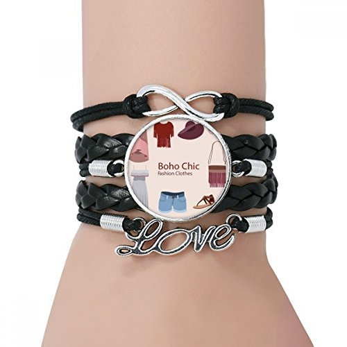 DIYthinker Bohe mia wind Fashion Clothes Girl Bracelet Love Black Twisted Leather Rope Wristband from DIYthinker