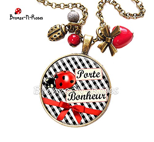 Broche /épingle Porte bonheur cabochon vichy noir coccinelle rouge cadeau No/ël