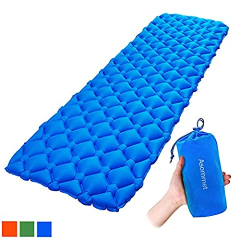 ASOMMET Ultralight Sleeping Pad, Outdoor Lightweight Inflatable Sleeping Mat/ Pad, Portable Waterproof Air Mattress Pad, Extra Large, Blue Green Orange, Compact for Backpacking Camping Hiking - Travel Pad