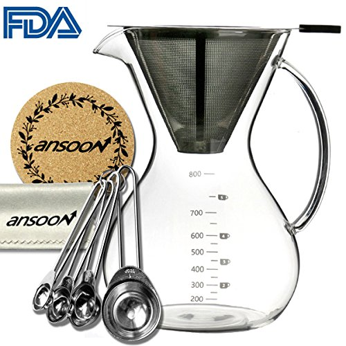 Ansoon Pour Over Coffee Maker, Pour Over Coffer Dripper and Coffee Scoop Set , Coffee Glass Filter Pot , French Press with Permanent Stainless Steel Mesh Filter (800 ml / 27 oz , 2-5 + cups) French Pot