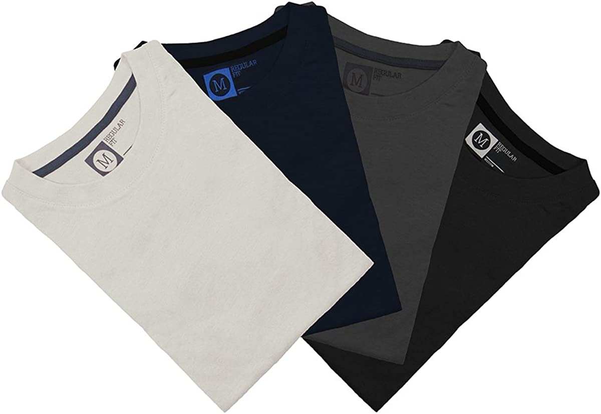 Primark Pack de 4 Camisetas, Azul Oscuro, Gris Oscuro, Negro ...