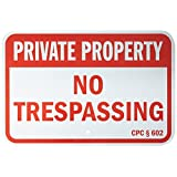 """SmartSign Aluminum Sign, Legend""""California Private Property No Trespassing"""", 12"""" high x 18"""" wide, Red on White"""