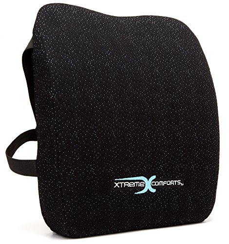 Memory Foam Back Support Cushion - Designed for Back Pain Relief - Lumbar Pillow with Premium Adjustable Strap - Hypoallergenic Ventilative Mesh - Alleviates Lower Back Pain