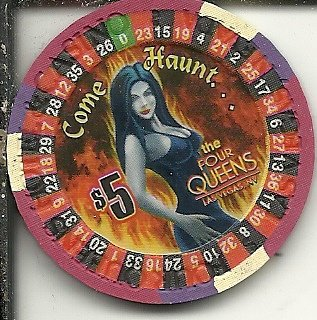 $5 four queens vintage las vegas casino elvira happy halloween -