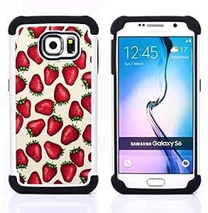 - strawberries love berries summer red/ H??brido 3in1 Deluxe Impreso duro Soft Alto Impacto caja de la armadura Defender - SHIMIN CAO - For Samsung Galaxy S6 G9200