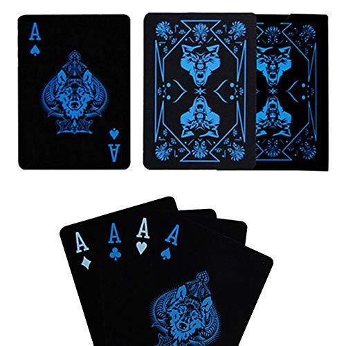 - MG554zy0 55Pcs/Set Waterproof Cool Wolf Pattern Poker Table Game Magic Prop Playing Card Waterproof Cool Wolf Pattern Poker