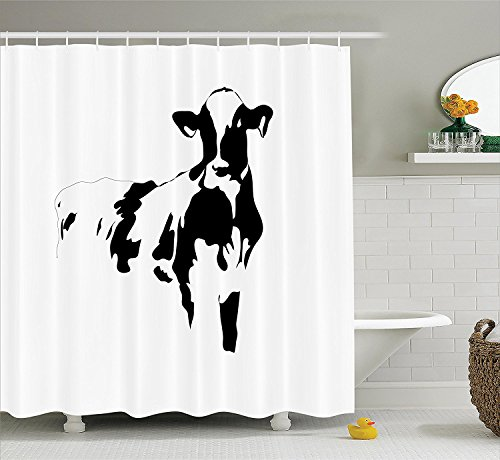[Farmhouse Decor Collection Silhouette Portrait of a Big Cow Meat Milk Farm Animals Agriculture Themed Image Polyester Fabric Bathroom Shower Curtain Black and] (The Pope Costume At The White House)