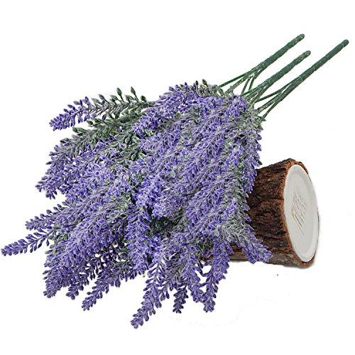 OFFIDIX 3pcs Artificial Flocked Lavender Bouquet in Purple Fake Flowers Arrangements Bridal Home DIY Floor Garden Office Wedding Decor Christmas Gift